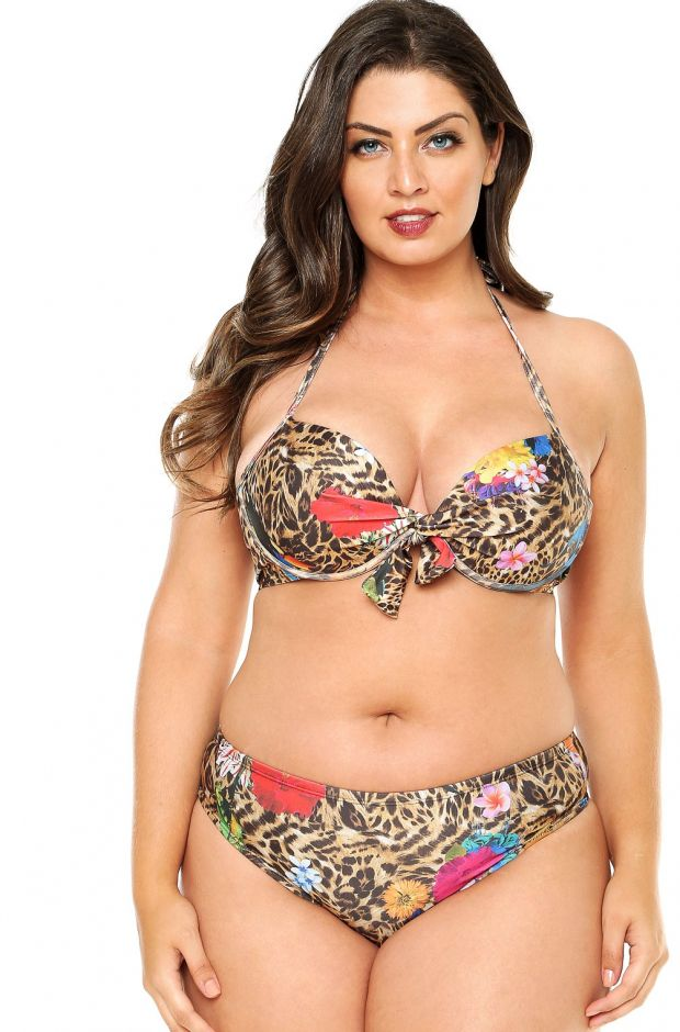 calcinha plus size tradicional na estampa savana