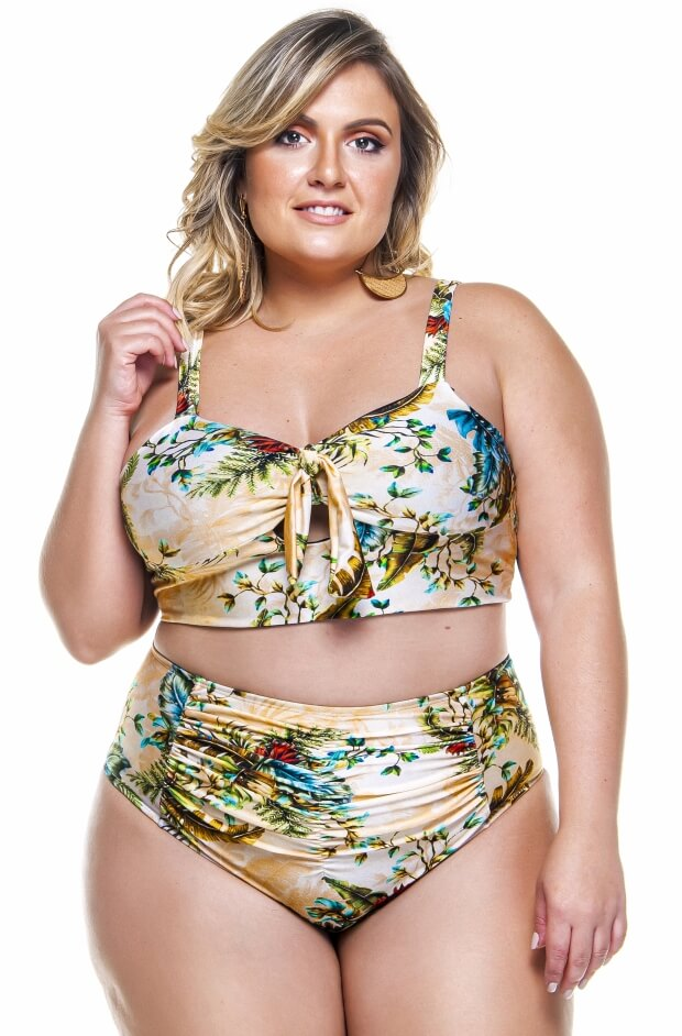 hot pant plus size drapeada na frente na estampa douro
